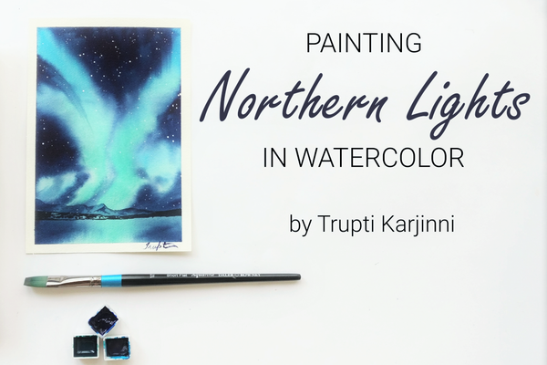 Watercolor northern lights