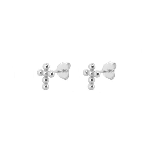 Pendientes Mini Cross Silver