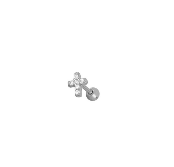 Piercing Brille Cross Silver