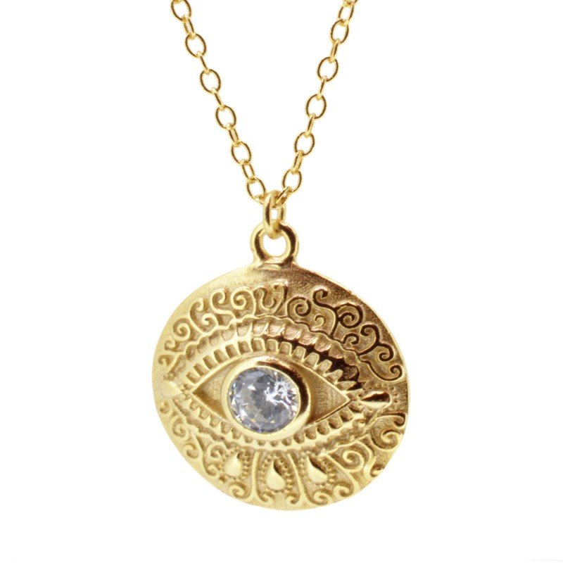 Eye Zirconia Gold Necklace