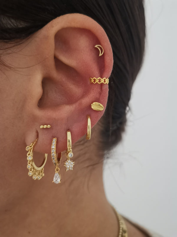 Super mini Croix Gold earrings