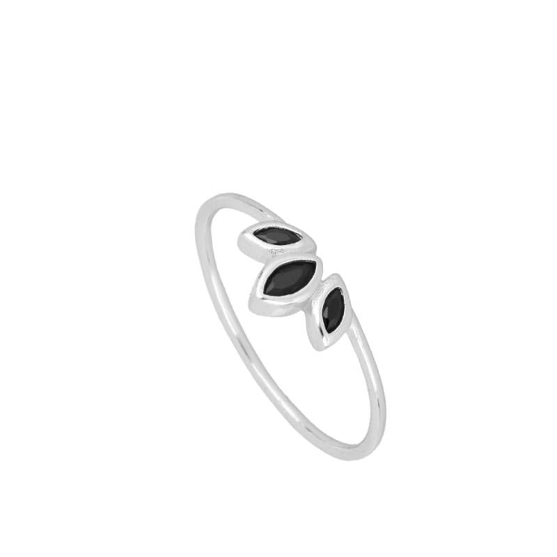 Casilda Black Silver Ring
