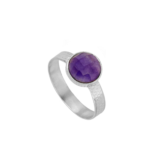 Julie Violet Silver Ring