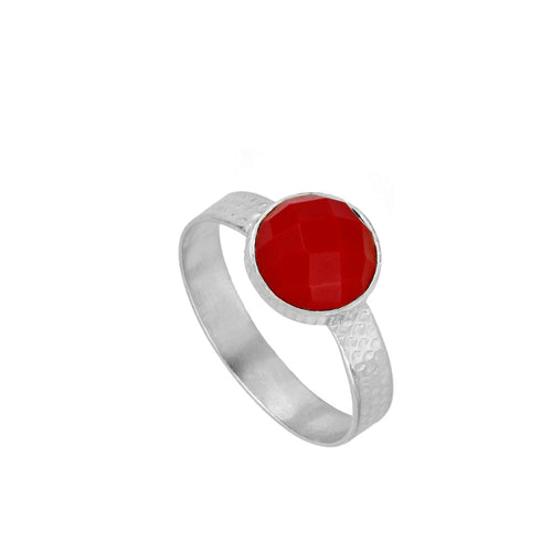 Julie Red Silver Ring