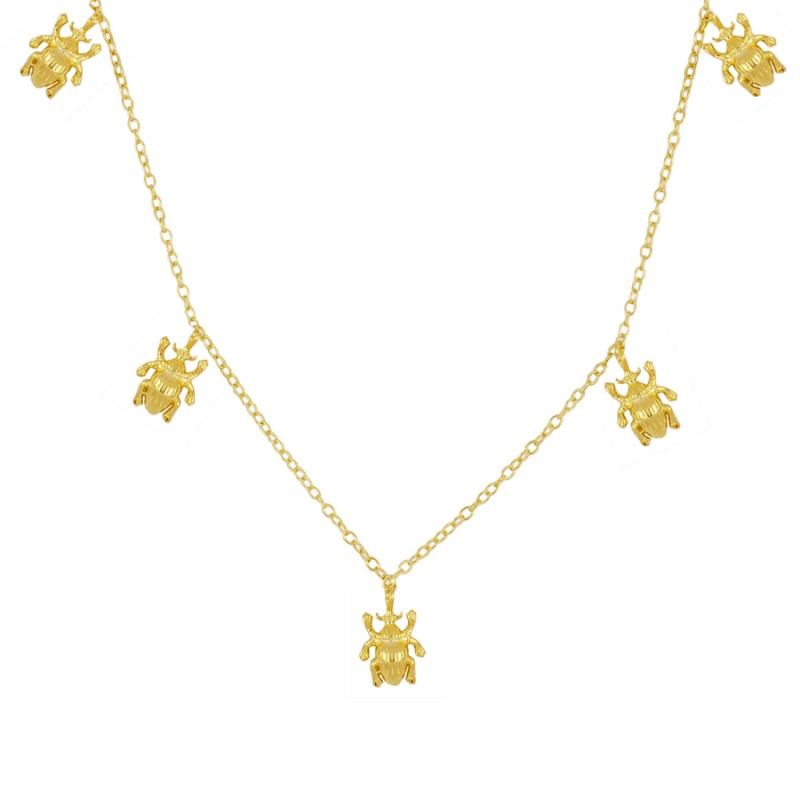 Tiny Beetles Gold necklace