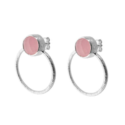 Earrings Stone Pink Hoops