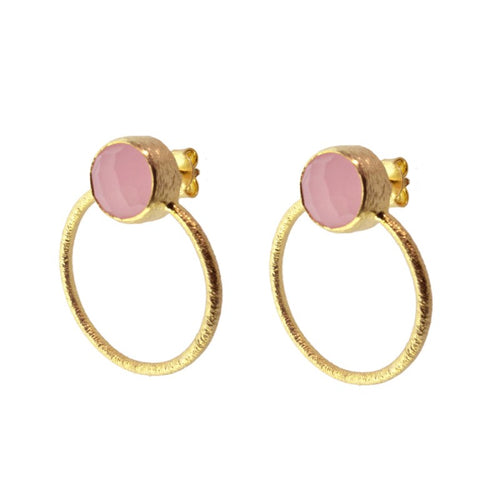 Stone Pink Hoop Earrings