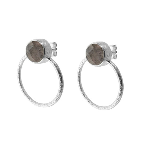 Earrings Stone Smoked Hoops