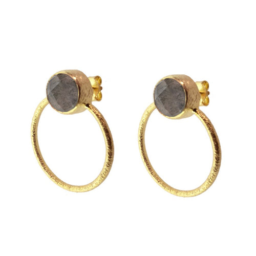 Stone Smoked Hoop Earrings