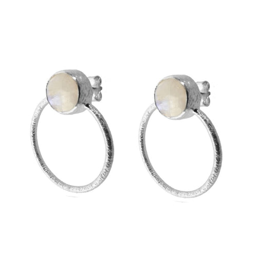 Stone White Silver Earrings
