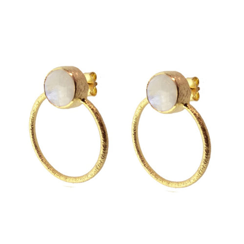 Stone White Hoop Earrings