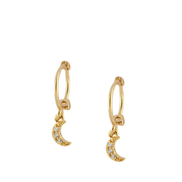 Moon Charm Gold Earrings