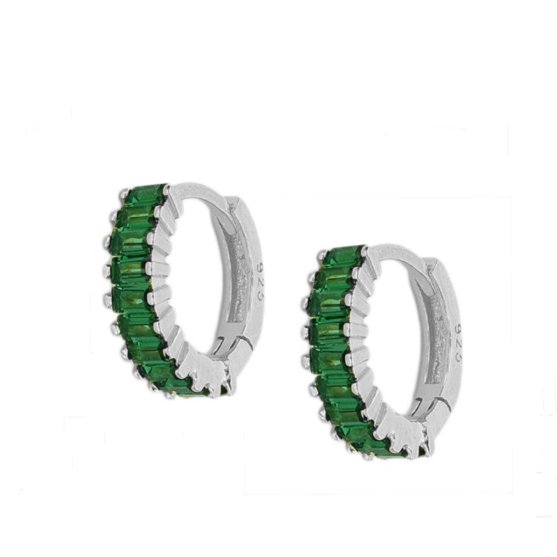 Agatha Green Silver Earrings