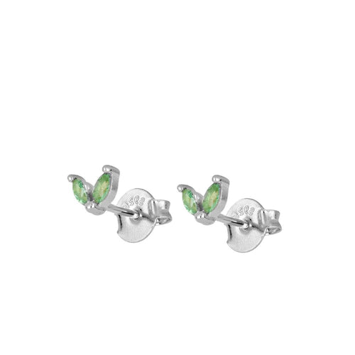 Bombai Green Silver Earrings