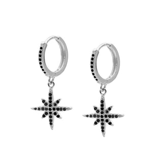 Pendientes Star Shine Black Silver