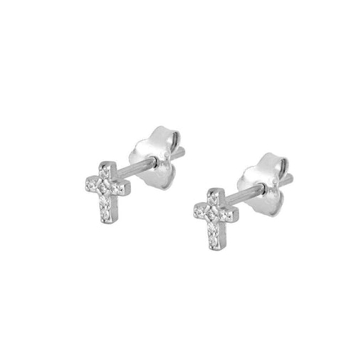 Shine Cross Silver Earrings