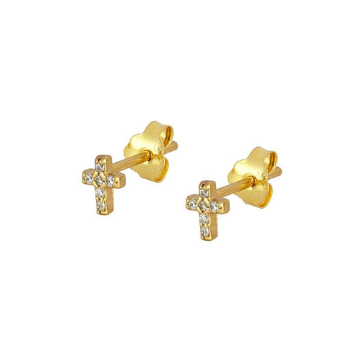 Shine Cross Gold Earrings