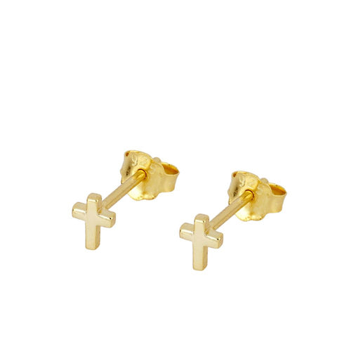 Mini Cruz Gold Earrings