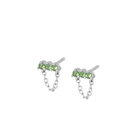 Noel Green Silver Earrings