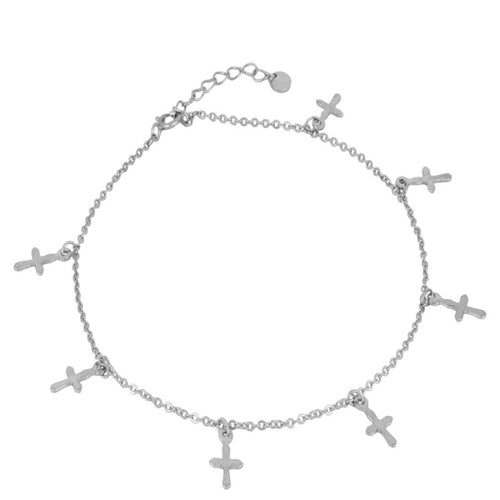 Cross Silver Anklet