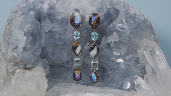LIGHTENING OPAL AQUAMARINE EARRINGS - HARRIS ZHU