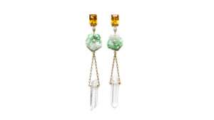 JOHANNA JADE CITRINE CRYSTAL DIAMOND EARRING - HARRIS ZHU