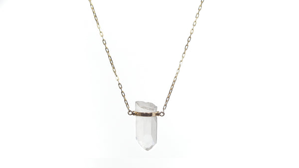ZIGGY GOLD BAR CRYSTAL QUARTZ NECKLACE - HARRIS ZHU