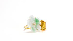 JOHANNA JADE CITRINE DIAMOND DOUBLE RING - HARRIS ZHU