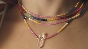 GYPSET RAINBOW SAPPHIRE CRYSTAL BAR NECKLACE - HARRIS ZHU