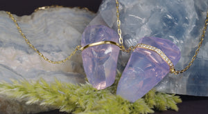JANICE GOLD BAR LAVENDER MOONSTONE NECKLACE - HARRIS ZHU