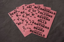 Fantasy Football: Extra Set of NFL Team Names Labels