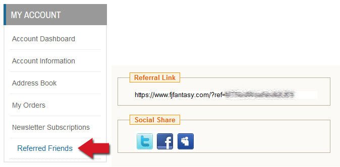 image of where the referral link is, in your account section on the left sidebar