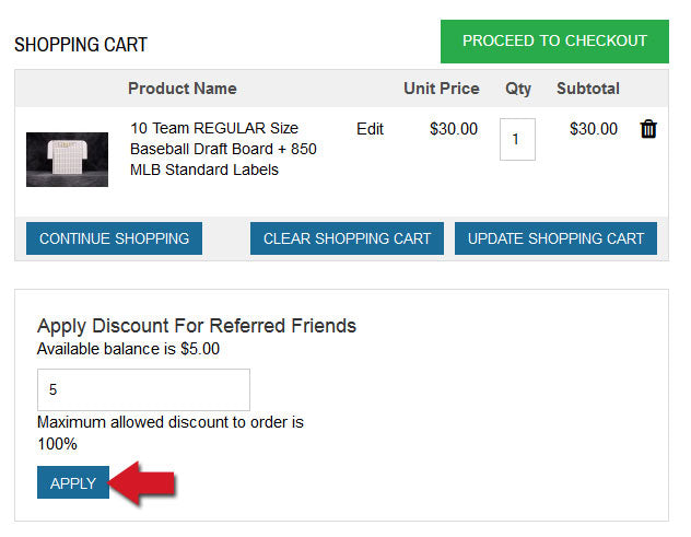 coupon code will appear in your shopping cart