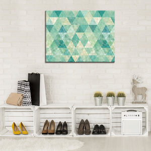 "Tableau ""triangles turquoise"""