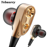 Earphones, In-ear Double Unit Drive Bass Subwoofer with Microphone, Tebaurry  R8