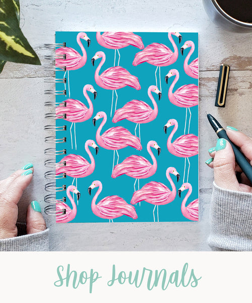 """turquoise flamingo hardcover spiral journal with text """"shop journals"""""""