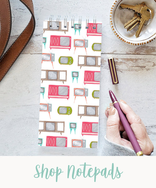 """vintage tvs long skinny spiral notepad with text """"shop notepads"""""""