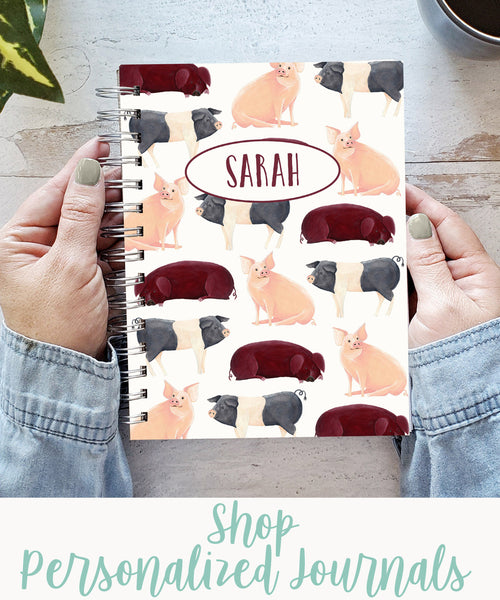 """personalized pigs hardcover spiral journal with text """"shop personalized journals"""""""