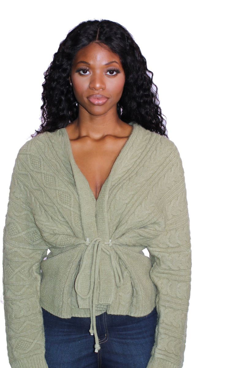 Light Olive Sweater Wrap Top