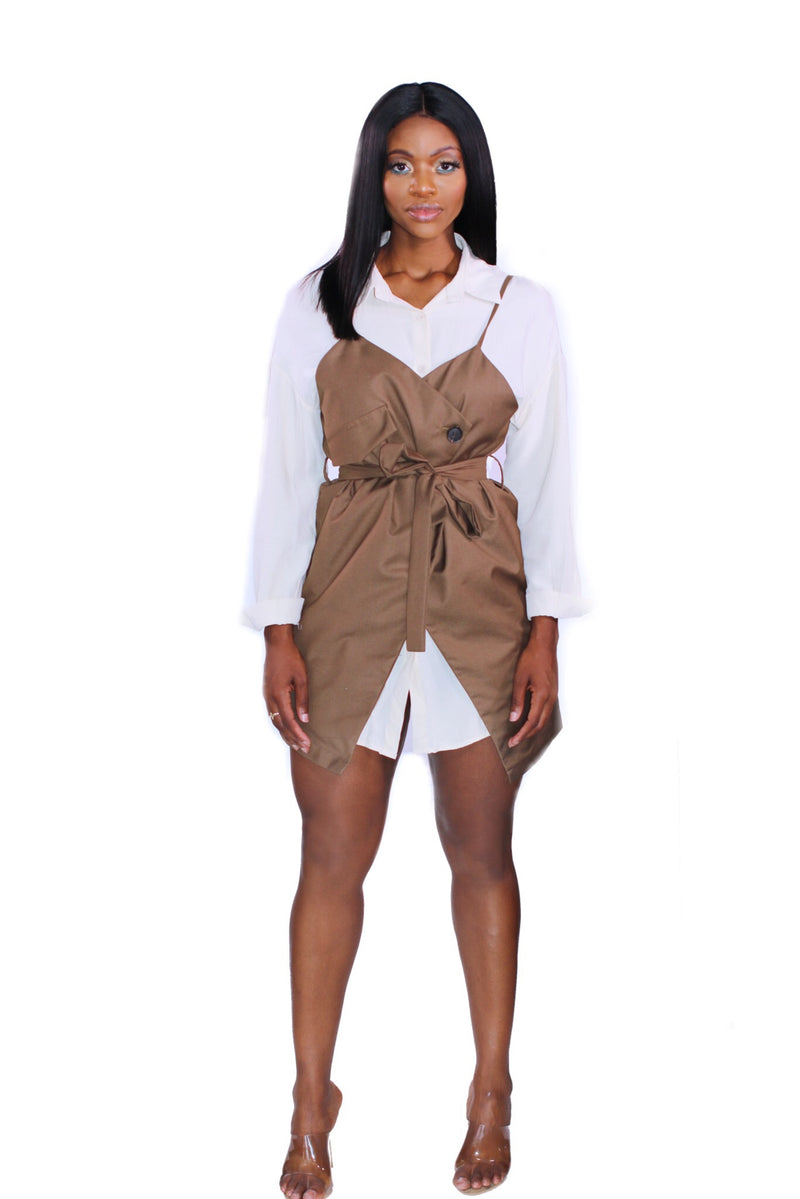 Brown Strappy Potato Sack Dress