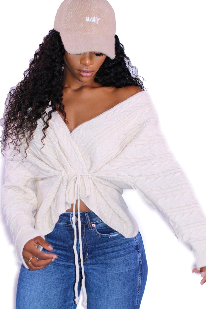 Cream Sweater Wrap Top