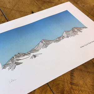 "Green Bird Press Letterpress Print - ""Broken Top & Three Sisters"""