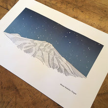 "Load image into Gallery viewer, Green Bird Press Letterpress Print - ""Mount Bachelor"""
