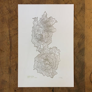 "Green Bird Press Letterpress Print - ""Three Sisters Topo Map"""