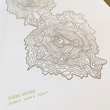 "Load image into Gallery viewer, Green Bird Press Letterpress Print - ""Three Sisters Topo Map"""