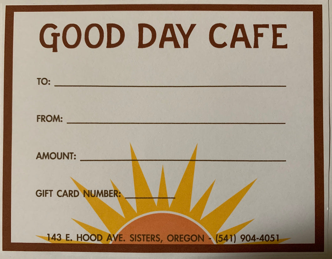 Good Day Cafe Gift Certificate