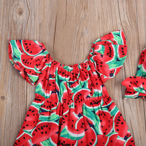 Cute Watermelon Romper and Bow Headband Set - Girl's Romper Outfit