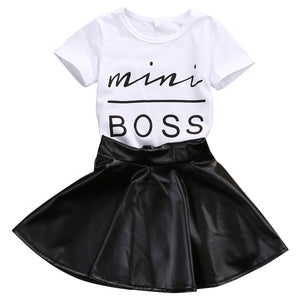 Two-Piece Mini Boss Top and Skirt Set – Girl's Casual Outfit