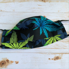 "Load image into Gallery viewer, ""Watercolour Cannabis"" Fabric Mask"