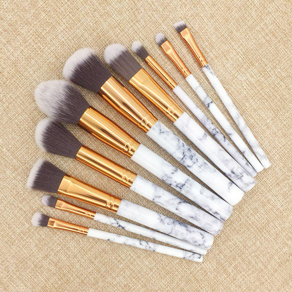 Next Lashes™ - Marble Makeup Brush Set (10 Brushes)